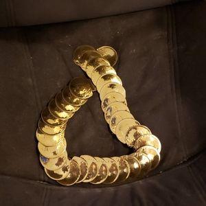 Vintage Gold Circle Coin Elastic Belt